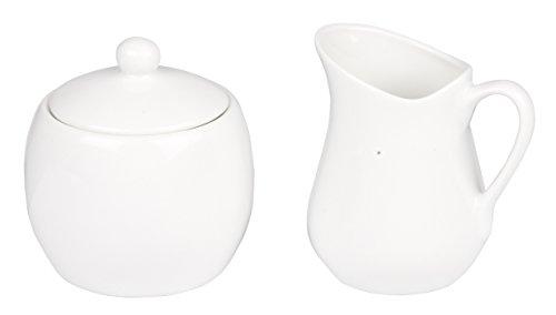Trento White Porcelain 100ml Milk Cream Serving Jug Creamer & Sugar Bowl...
