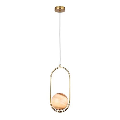 Pinjeer Nordic Copper Planet Candelabro de Cristal Luces Colgantes Modernas G9 Lámparas de suspensión Individuales ovaladas Minimalistas Lámpara de decoración Interior Creativa para Sala de Estar