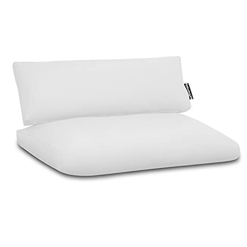 EXTROITALY BULIVAR - Cojines de piel sintética color blanco, medidas 120 x 80 x 15 cm, respaldo 120 x 40 cm, grosor 15 cm, cremallera en el fondo – Se puede limpiar con esponja suave, impermeable
