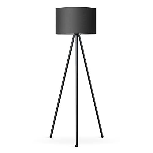 Tomons Lámpara de Pie LED Regulable Contemporánea con Trípode de Metal, para sala de Estar y Dormitorio, Estilo Moderno - Negro