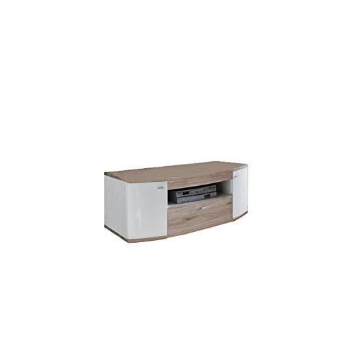 Newfurn TV Lowboard natuur TV kast TV tafel rek board II 130x51,7X 56,7 cm (BxHxD) II [Marin.one] in melamine wit/San Remo eiken licht woonkamer slaapkamer