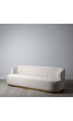 IXIA – Sofá de imitación lino, color beige, base dorada, 3 plazas