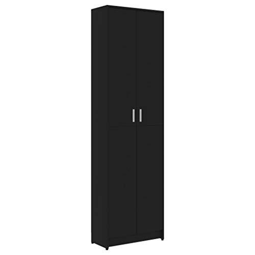 vidaXL Garderobenschrank mit 5 Fächern Flurschrank Hochschrank Schrank Dielenschrank Kleiderschrank Schlafzimmerschrank Schwarz 55x25x189cm Spanplatte