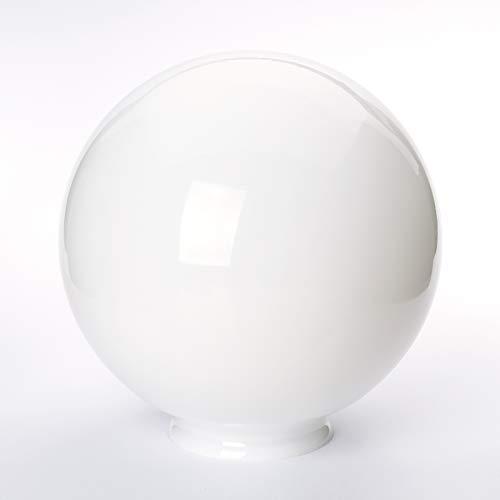 Glaskugel mit Loch viele Größen Lampenglas mit Griffrand Glasschirm Opal weiß glänzend Ersatzglas Schirm Glaskugel Kragenrand Kragen (Ø 200mm)