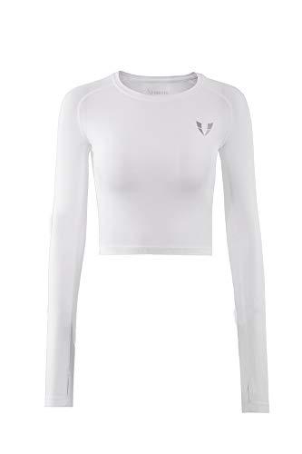 FIRM ABS Damen Workout-Shirt, lockere Passform, Weiß, Größe XL