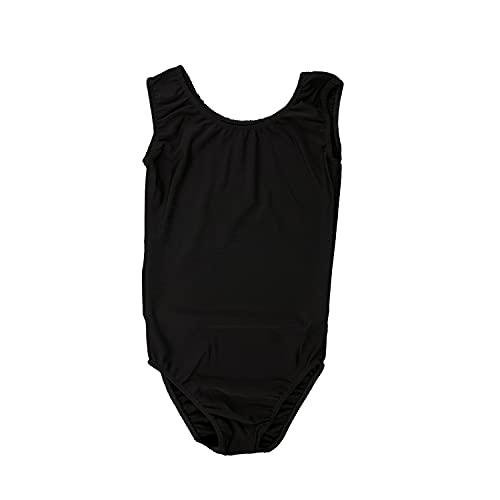 Carnavalife Body da danza senza maniche per bambine, con collo rotondo, per ginnastica, ballo e feste Nero 1-3 anni