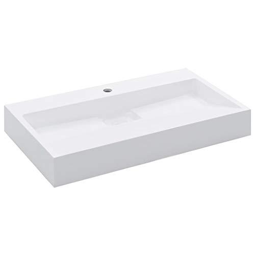 Festnight Waschtisch Waschbecken Mineralgussbecken Handwaschbecken Aufsatzwaschbecken für Badezimmer Waschzimmer - 80 x 46 x 11 cm Mineralguss/Marmorguss Weiss