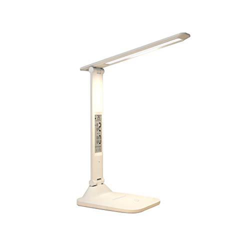 Binn Lámpara de Escritorio Led Escritorio LED de luz de lámpara 7W con Pilas Lámpara de Mesa de Control táctil, Lámpara portátil Compacto for Oficina Estudio del Dormitorio Dormitorio (Color : White)