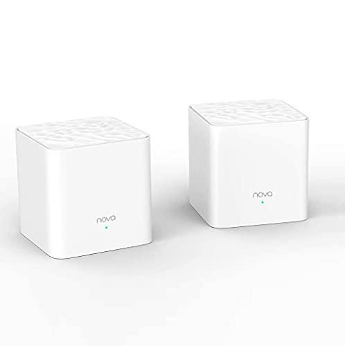 Tenda Nova MW3 2x echtes Dual-Band Mesh WLAN (Bis zu 200m² WLAN, AC1200, 4x LAN Port, QoS) Ersetzt Router, Powerline & Repeater