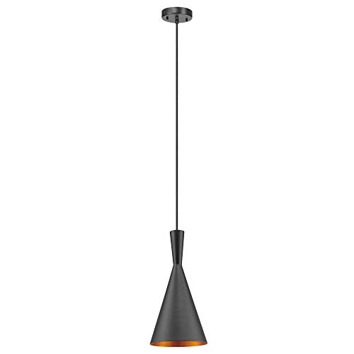 Globe Electric 63873 Mira 1-Light Hourglass Pendant, Cord, Matte Black with Gold