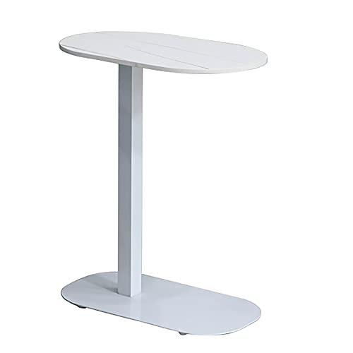 ZWJLIZI Mesa auxiliar de sofá de hierro, mesa auxiliar de cama de roca en forma de C nórdica, movible (50 x 30 cm) mesa de computadora de escritorio grande (color: B)