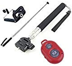 SELFIE BLACK Monopod Extendable Handheld Holder Bluetooth Remote Control Shutter RED