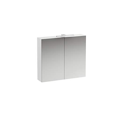Laufen Base Spiegelschrank 800 mm, 2 Türen, LED- Licht Element, Farbe: Ulme hell