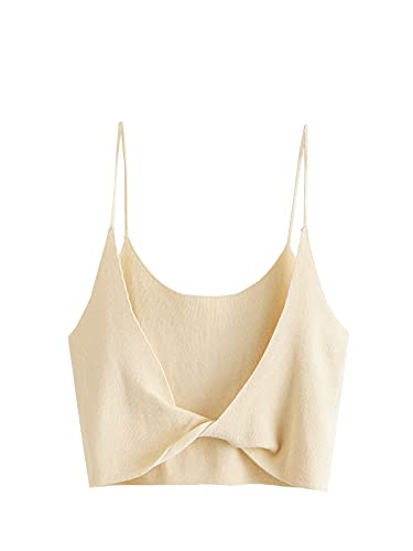 SheIn Women's Sleeveless Spaghetti Strap Twist Backless Slim Fit Crop Cami Top Apricot S