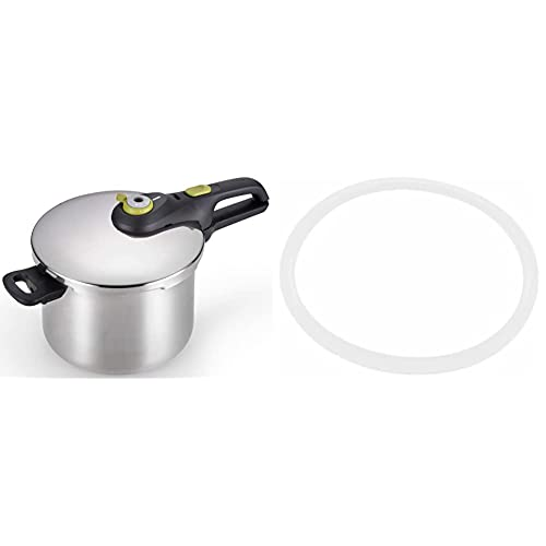 T-fal Pressure Cooker, Stainless Steel Cookware, Dishwasher Safe, 6.3-Quart, Silver & X9010103 Seal Secure 5 Gasket for Stainless Steel Pressure Cooker Cookware, 4-Quart 6.3-Quart and 8.5-Quart, White