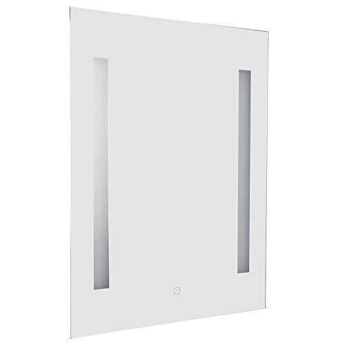 EBTOOLS Specchio a LED Bagno con 2 Luci a LED, Interruttore a Sfioramento, Antiappannamento, 220V, 50 x 70 x 4 cm(Bianca)