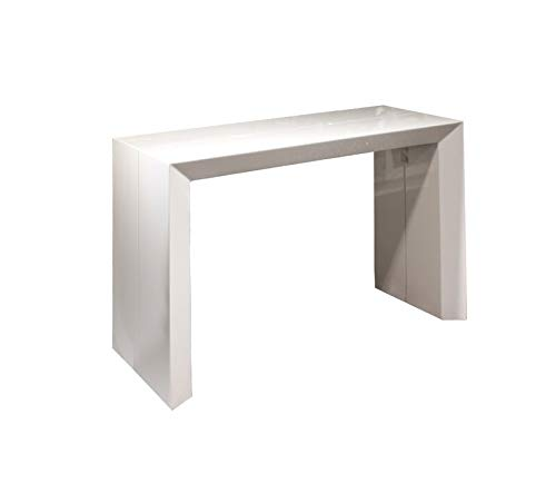 Beveled Edition! Extendable Space Saving Modern Dining Table, Transforms from a Console Table or Desk to a Large Dining Table That Seats Up to Ten White Gloss - Beveled Edition
