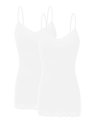 RT1004 Pack Ladies Adjustable Spaghetti Strap Lace Tunic Camisole 2Pack-WHT L