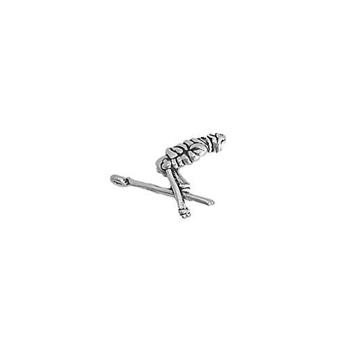 Schmuckprofessionals Anhänger Sport Skifahren Downhill Skier Charm aus 925 Sterling Silber