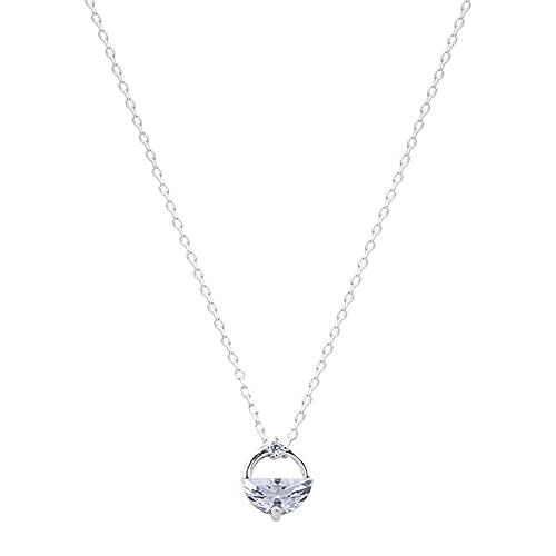 S925 Collar De Plata Esterlina Con Bohimia Rhinestone Colgante Cadena De Clavícula Joyería De Plata Para Regalos Femeninos #345 (Color : Silver, Size : 40+5cm)