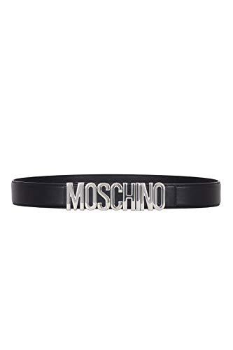 Moschino Gürtel Leder glänzend schwarz mit Logo Silber, Schwarz 40
