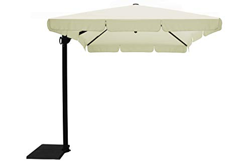 Maffei Art 127r California Parasol deporté carré cm 250x250, Tissu Polyester. Made in Italy. Couleur Ecru