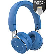 Wireless Headphones for Kids with iPhone Compatible Connector (Apple MFi Certified) Lightning Audio Cable - Lightweight Bluetooth Childrens Earphones, On Ear Adjustable Best Fit - Azure Blue
