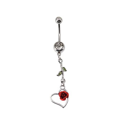 SALAN Romántico Corazón De Rosa Cuelga El Ombligo Anillo De Moda Piercing del Ombligo Femenino Falso Piercing del Ombligo De Acero Inoxidable