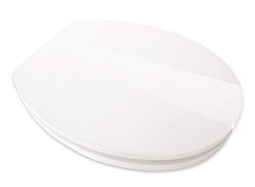Calmwaters® WC Sitz Hochglanz Weiß mit Absenkautomatik, Fast-Fix-Befestigung aus Metall, universale O-Form, stabiler Holzkern Toilettendeckel, Komfort Klodeckel, Weiß glänzend - 26LP2825