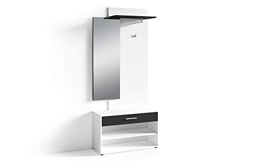 HOMEXPERTS Kompakt-Garderobe JANUS / Garderoben-Set mit Spiegel und viel Stauraum / Moderne Schwarz-Weiß-Optik / Flexibel aufbaubar / Schuh-Schrank / Kleider-Stange / 85x196x35cm (BxHxT)