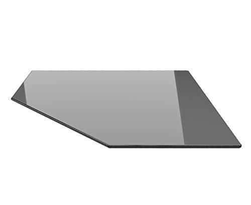 Fünfeck 100x100cm Glas schwarz - Funkenschutzplatte Kaminbodenplatte Glasplatte f. Kaminofen (Schwarz FE100x100cm - mit Silikon-Dichtung)