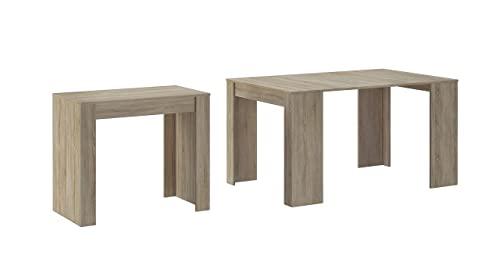 Skraut Home - Table Console Extensible avec rallonges, jusqu'à 140 cm, pour Salle à Manger et séjour, Couleur chêne Clair brossé. Jusqu´à 6 pers.