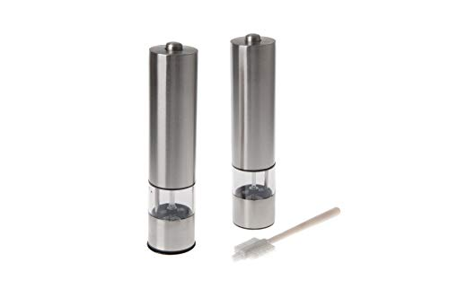 Brushed Stainless Steel Automatic Electric Salt and Pepper Mill Grinder Shaker Two Piece Set Comes Complete With Adjustable Control Light Caps and BONUS Cleaning Brush All By Markat International