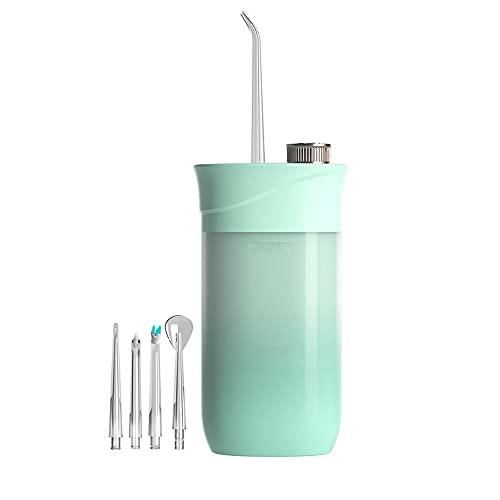 Portátil Flossers de Agua Dientes, Eléctrico Irrigador Bucal Alta Frecuencia Pulso 3-Limpieza Modos/4 Boquillas Telescópico Agua Depósito 3s-Adaptable IPX7 Impermeable, para Cuidado Dental(Color:B)