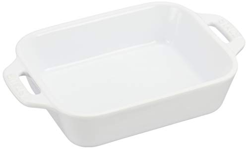 staub ストウブ 「 レクタンギュラー ディッシュ ホワイト 14×11cm 」 セラミック グラタン皿 オーブン 電子レンジ対応 【日本正規販売品】 Dish 40508-584