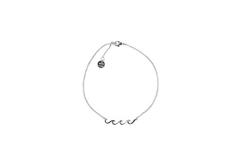 Pura Vida Silver Plated Delicate Wave Anklet - Brand Charm, Adjustable Band - Cable Chain