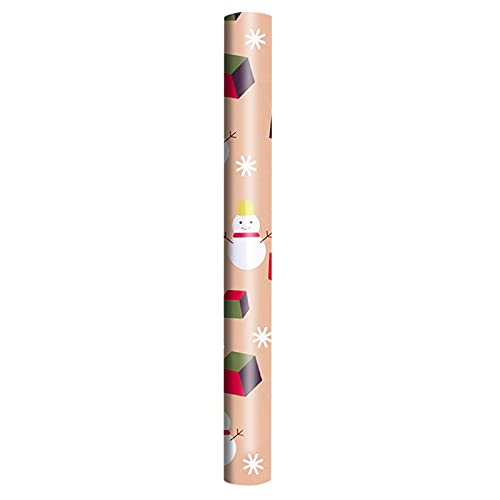 general3 Kraft Gift Wrapping Paper Roll Handmade Vintage Snowman Santa Claus Snowflake Christmas Elements Print Wrapping Paper Xmas Decorative Packing Papers Art Craft Accessory (D4, 38''×20'')
