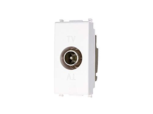 SANDASDON SD7173D-3 Presa TV Passante Connettore Maschio Bianco Compatibile Vimar Plana