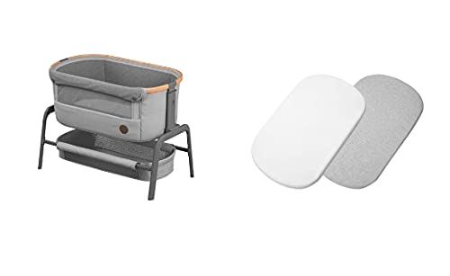 Maxi-Cosi Iora Co-Sleeper with Fitted Sheets for Mattress, Bedside Crib with Easy Slide Function, Suitable from Birth, 0 Months - 9 kg, Essential Grey