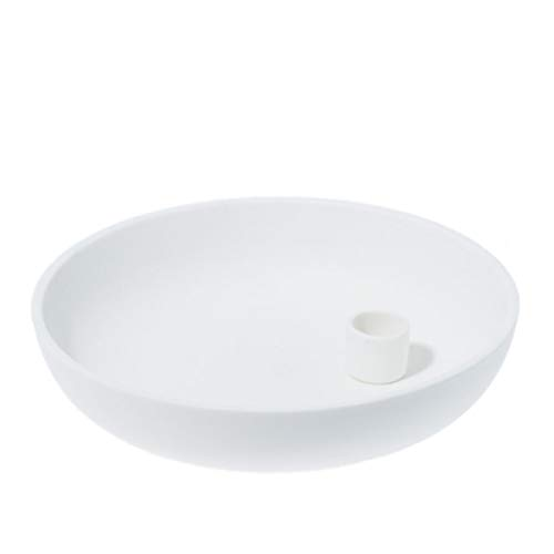 Storefactory - Lindatorp - Kerzenständer, Kerzenschale - Keramik - Weiß - Maße (ØxH): 21 x 5 cm