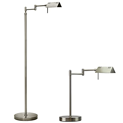 O'Bright LED Pharmacy Floor Lamp and Table Lamp Bundle, 12W LED, Full Range Dimming, 360 Degree Swing Arms, Reading Lamp, Task Lamp for Craft Work and Sewing, Brushed Nickel