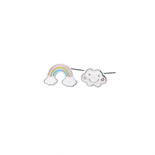 WOZUIMEI S925 Pendientes de Epoxi de Plata Esterlina Niña Pequeña Y Linda Estilo Japonés Clima Arco Iris Nubes Pendientes Asimétricos de Otoño e Inviernoplatino, Plata 925