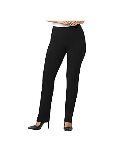 Dressbarn Women's Roz & Ali Secret Agent Comfort Pull On Tummy Control Pant with L Slit Pockets Black