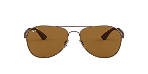 Ray-Ban Herren Sonnenbrille RB3549, Braun (Matte Brown / Brown Polarized Lenses), 58