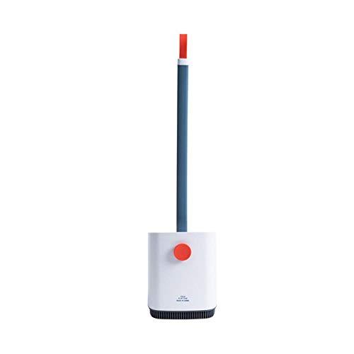 FICI Portable Toiletborstels reinigingsborstel lange steel zachte toiletborstelhouder siliconen hoekborstel schoonmaken, wit