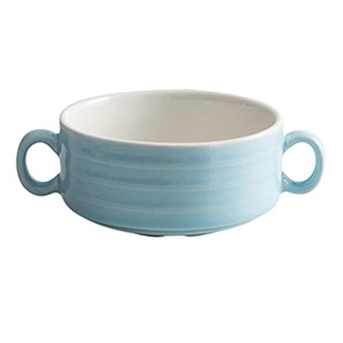 Einzelne keramische binauerale Soufflé-Pudding-Schüssel, kreative Japanische Backschalen-Suppeneintopf, Mikrowelle blue