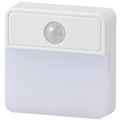 オーム電機 LED明暗人感センサー式ナイトライト 室内用 NIT-ALA6JSQ-WN 06-0148 OHM