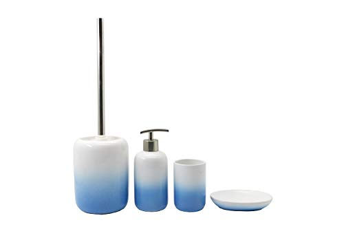 BM 4063 - Juego de accesorios de baño de cerámica blanca y