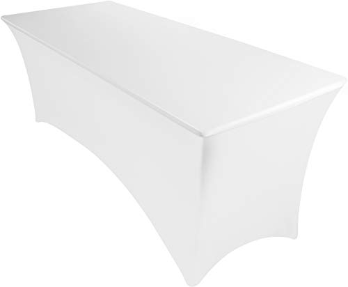 Utopia Kitchen Mantel Estirable - 6 ft (183 cm) Mantel Ajustable para Eventos y Fiestas - Mantel de Poliéster y Spandex - Lavable a Máquina - Resistente a Las Arrugas (6 Feet, Blanco)