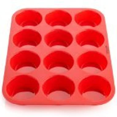 OvenArt Bakeware OV-SB50-01 Silicone Muffin Pan, 12.8  x 9.7  x 1.2 , Red